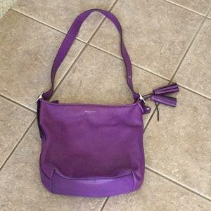 Purple Coach leather shoulder bucket bag